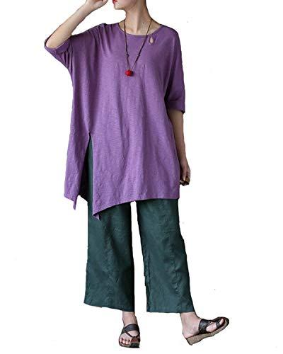 Blouse Col Fourcher Taille Violet Shirt Manches Rond Tops Costume Femme Uni Et T Hipster Manche Casual Vintage Shirts Fashion 4 Longues Grande Chic 3 Haut BxR1xS