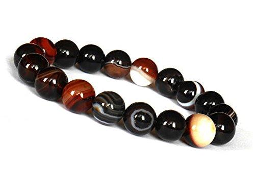 JP_Beads Black Brown Sardonyx Bracelet, Agate Bracelet, 10mm Agate Eye, Agate Stone, Sardonyx Jewelry, Mens Beaded Agate Bracelet, Women Agate 10mm