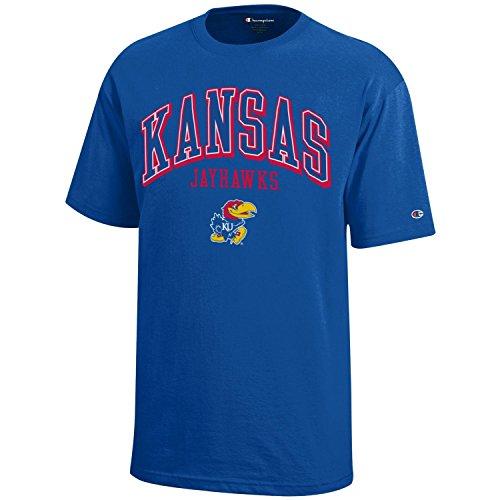 Heavyweight Cotton Tee 100% (NCAA Champion Boy's Short Sleeve Jersey T-Shirt, Kansas Jayhawks, Medium)