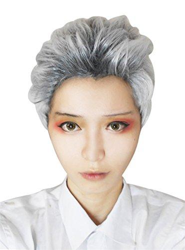 Nuoqi Men Descendants Carlos Short Hair White Gray Mixed Cosplay Wig ZY191, Zy191-grey Mixed, Short