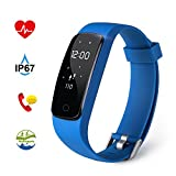 Fitness Tracker HR Aneken Activity Tracker with Heart Rate Monitor IP67 Waterproof Bluetooth Smart Bracelet with Pedometer Sleep Monitor Step Counter Watch for Android iOS Smartphone - Blue