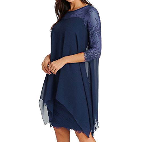 - Willow S Women Valentine's Day Casual Sexy Chiffon Overlay Three Quarter Sleeve Lace Dress Blue