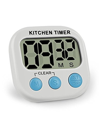 - Peterivan Digital Kitchen Timer, Large LCD Display, Big Digits, Loud Alarm, Magnetic Backing - Minute Second Count Up Countdown Timer for Kids or cooking Baking (Battery Not Include)