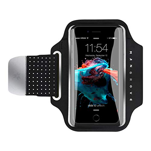 Water Resistant Cell Phone Armband for iPhone X, Xs, 8 Plus, 7 Plus, Samsung Galaxy S9, S9+, Note 8, S8, 5-6 Inch Reflective Running Workout Exercise Arm Phone Holder, Key/Card Holder + Free Extender (Active Armband Sport)
