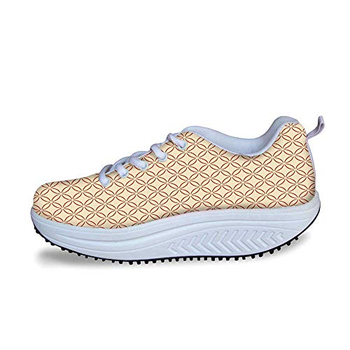- YOLIYANA Geometric Cool Shake Shoes,Lattice Circles Pattern with Intertwined Oval Shapes Traditional Japanese Decorative for Women,US Size9