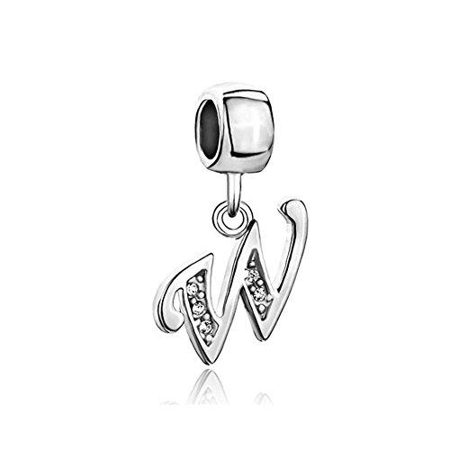 ReisJewelry Letter A-Z Alphabet Initial Charms Dangle Beads For Snake Chain Bracelet (W)