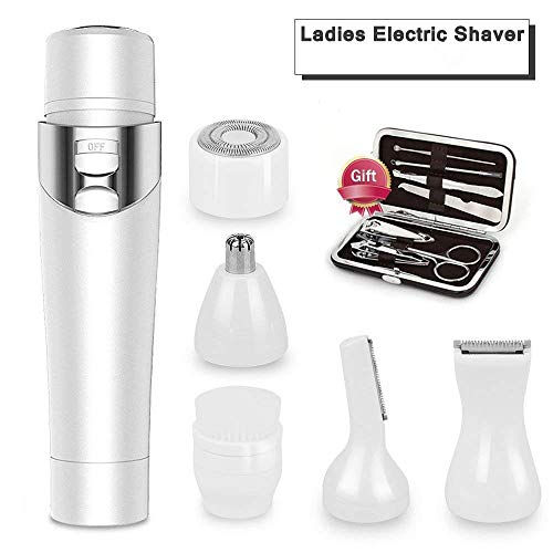 Ladies Electric Shaver, GINDOLY 5 in 1 Waterproof USB Rechargeable Women Electric Shaver Cordless Wet/Dry Electric Razor for Women Body, Nose Hair,Facial Cleaning, Bikini Line with Free Nail Clipper