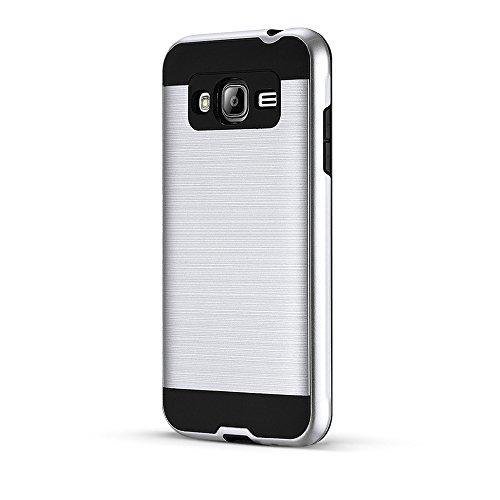 Galaxy J7 (2016) J710 Funda,Grandcaser Prima Dual Layer Híbrido Dura de PC y Flexible TPU Silicona Resistente Slim Armor Carcasa Absorción de Choque Funda de Protección Back Cover para Samsung Galaxy  Plata