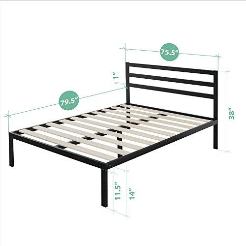 Zinus Modern Studio 14 Inch Platform 3000H Metal Bed Frame/Mattress Foundation/Wooden Slat Support/with Headboard, King