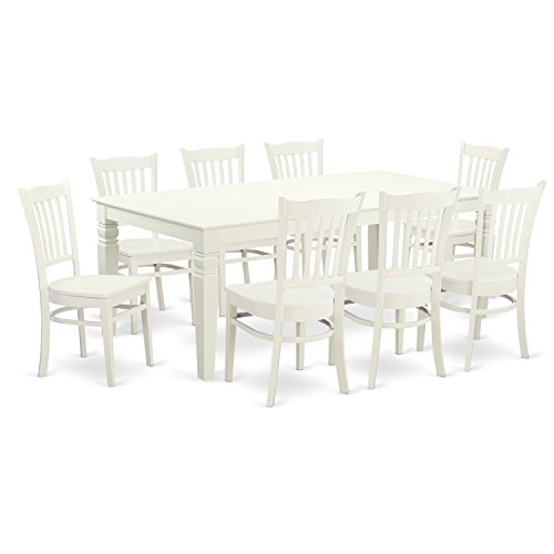 East West Furniture LGGR9-LWH-W 9Piece Dinette Set with One Logan Dining Table & Eight Kitchen Chairs in Linen White Finish