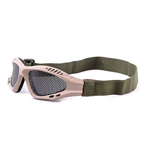EDTara Metal Mesh Goggles Eyes Protection Safety Net Paintball Shooting CS Game?Khaki (Googles Safety Adult Science)