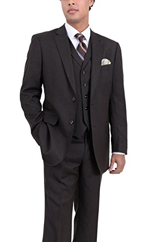Wool 3 Piece Suit (Arthur Black Classic Fit Solid Olive Brown Two Button Three Piece Wool Suit)