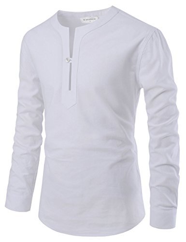 NEARKIN NKNKS832 Mens Slim Cut Look One Button City Casual Henley Cotton Shirts White US XXXL(Tag Size 3XL)