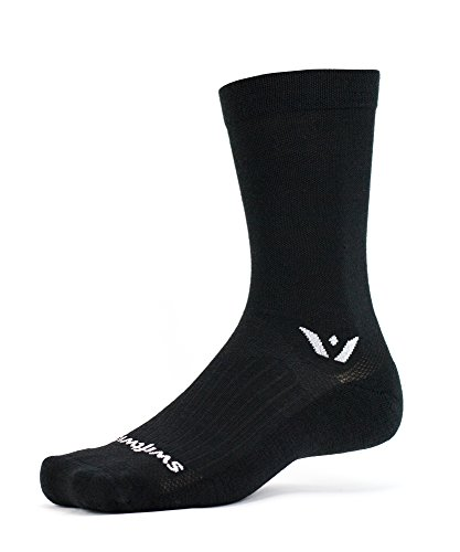 Swiftwick - Pursuit Seven, Crew Socks for Hiking and Cycling, Black, Medium