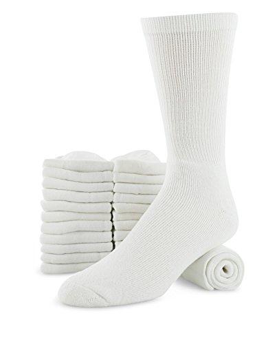 Mens 12-pack Big & Tall Cotton Cushion Athletic sports Sock Ring Spun (Crew Socks), White, SHOES SIZE 12-15 SOCK SIZE 13-15
