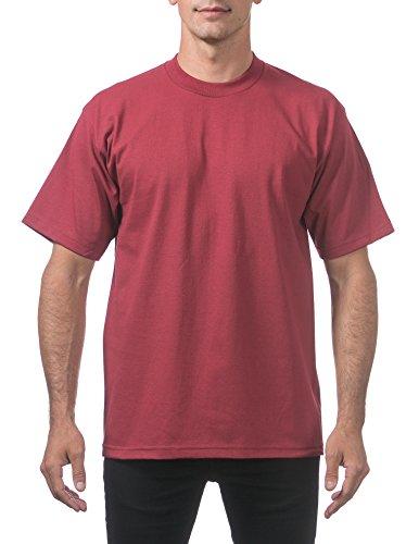 - Pro Club Men's Heavyweight Cotton Short Sleeve Crew Neck T-Shirt, Small, Burgundy