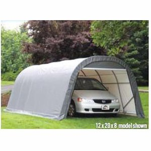 ShelterLogic 12-Ft.W Round-Style Instant Garage - 28ft.L x 12ft.W x 8ft.H, 1 5/8in. Frame, Gray, Model# 76632 by ShelterLogic