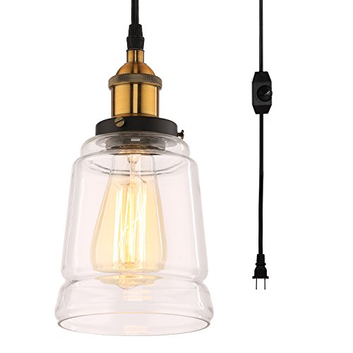 HMVPL Glass Hanging Lights with Plug in Cord and On/Off Dimmer Switch, Updated Industrial Edison Vintage Swag Pendant Lamps for Kitchen Island or Dining Room (Jar)