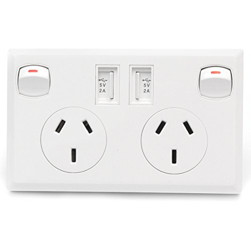 HITSAN 5 PCS Dual USB Powerpoint Home Wall Power Supply Socket For Australia New Zealand AU Plug One Piece