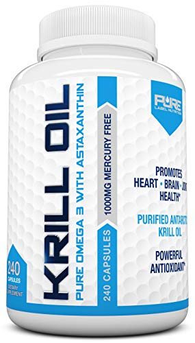 Krill Oil 1000mg with Astaxanthin 240 Caps Omega 3 6 9 - EPA DHA - 100% Purified, Mercury Free and Wild Caught - Non GMO - Gluten Free - Pure Krill Oil - Mega Dose Phospholipids
