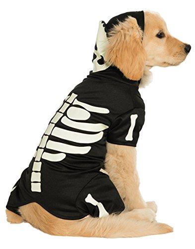 Dog Skeleton Halloween Decoration (Rubie's Pet Costume, Medium, Glow in The Dark Skeleton Hoodie)