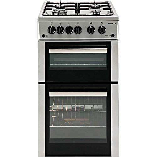 Beko BDVG592S 50cm Wide Double Oven Gas Cooker Silver