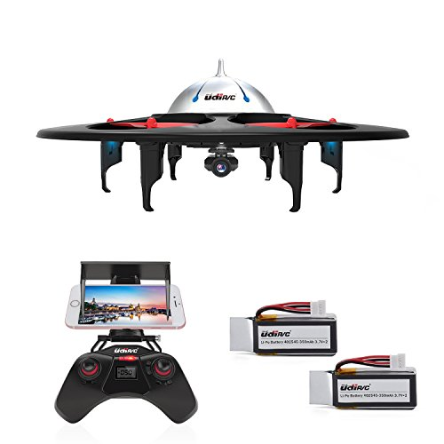 DBPOWER UDI U845 WiFi FPV UFO RC Drone with HD Camera 2.4GHz 4CH 6 Axis Gyro RTF Quadcopter with Low Voltage Alarm Gravity Induction and Headless Mode Includes BONUS BATTERY