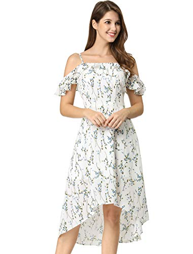 Allegra K Women's Spaghatti Straps Ruffled Sleeves Asymmetrical High Low Floral A-Line Midi Dress L Off White