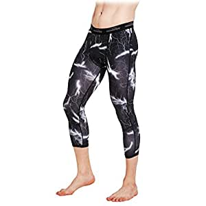 COOLOMG Men's Compression Pants 3/4 Tight Pants Base Layer Running Leggings Quick Dry for Men Youth Boy Black Lightning(3/4 length) Adults X-Small(Youth Large)