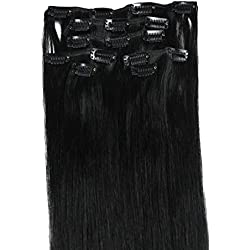 Clip Hair Extension, Grammy 20 Inch 7pcs Remy Clips in Human Hair Extensions with Clips for Highlight (#01 Jet Black 70g)
