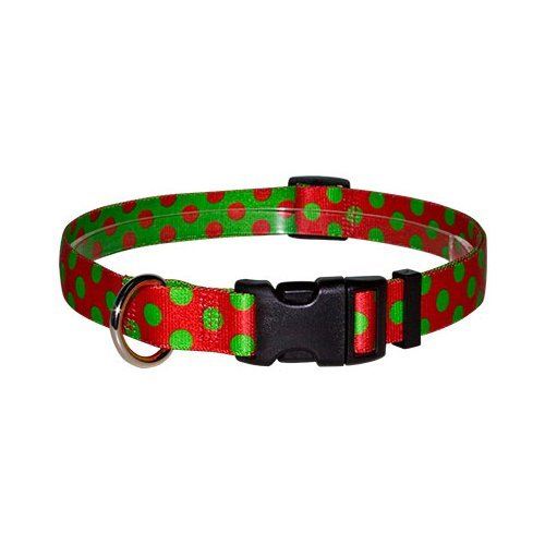 """Christmas Polka Dot Dog Collar - Size Cat 8"""" to 12"""" Long - Made In The USA"""