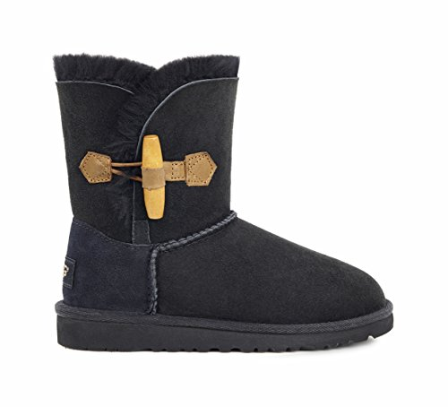 UGG Australia Girls' Ebony Sheepskin Toggle Fashion Boot Black 6 M US (Ugg Classic Short Best Price)