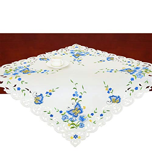Simhomsen Small Spring Butterfly and Floral Tablecloths Toppers, Tablecovers for End Table, Tea Table, Coffee Table and Nightstand, Blue Square 34 Inch]()