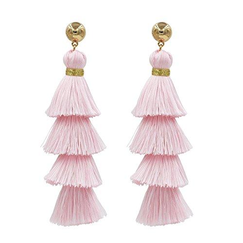 Fashion Jewelry 14k Gold/Tassels/Charming Pendants/Gems Drop Earrings (NewTassel-Pink)