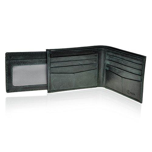 Pavia Mens Leather Bi-fold Slim Wallet RFID with Pull Out For Additional Cards (Distressed Black) ()