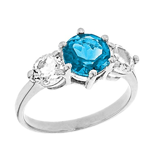 (Elegant 14k White Gold Genuine Blue Topaz with White Topaz Engagement/Proposal Ring (Size 5.5))