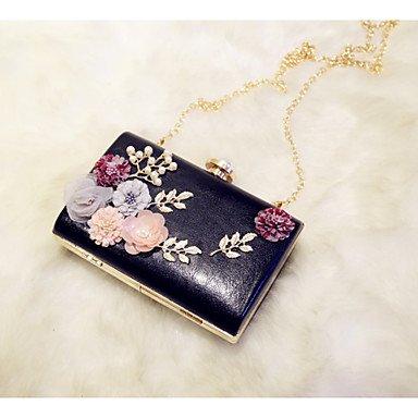 Bolsa de noche de las mujeres PU All Seasons Evento/Party &Amp; Noche Fecha Baguette flor rosa pálido color caqui Magnético negro blanco, negro White