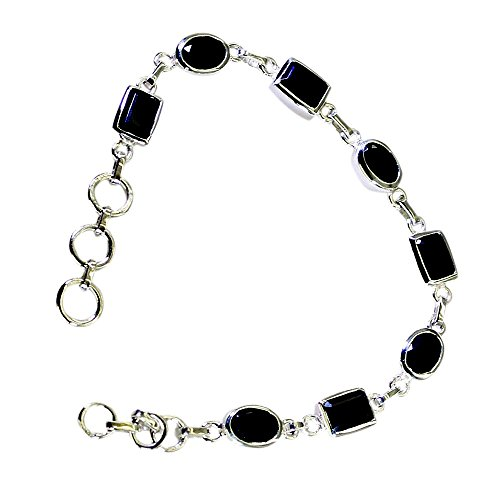 (Jewelryonclick Natural Oval Black Onyx 925 Sterling Silver Link Bracelet For Women Chakra Healing Jewelry)
