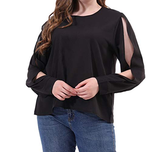 DONTAL Womens Sexy O-Nack Plus Size Solid Color Cutout Long Sleeve Hawaiian Shirt Black