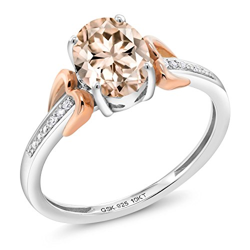 Oval Peach - 1.00 Ct Oval Peach Morganite 925 Silver With Diamond 10K Rose Gold Ring
