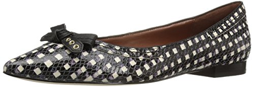 Bow Skimmer - Cole Haan Women's Alice Bow Skimmer Pointed Toe Flat, Black/White Grid Print, 5.5 B US