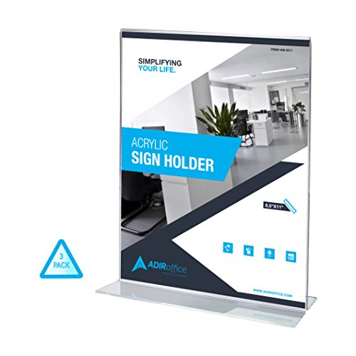 AdirOffice T-Shaped Base Sign Holder – Portrait-Style Ad Frame – Side Insert – Clear Acrylic – 8.5 x 11 Inches (3 Pack) - Portrait Standing