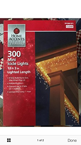 Home Accents Holiday 300 Mini Icicle Clear Lights - 844 (Lite Icicle)