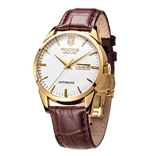 - Men's Wrist Watches ROCOS Japanese Automatic Mechanical Watch for Men Waterproof Analog Watch with Genuine Leather Skeleton Luxury Classic Elegant Gift#R0139 (Gold)