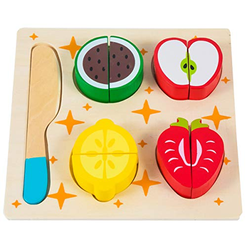 GHIFANT 9 PCS Toy Food Set Kids Pretend Play Food Cutting Fruit Playset Shape Cognition Wooden Toys