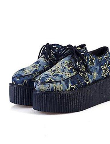 ZQ Zapatos de mujer - Plataforma - Creepers / Punta Redonda - Oxfords - Casual - Vaquero - Azul , blue-us8 / eu39 / uk6 / cn39 , blue-us8 / eu39 / uk6 / cn39 blue-us8 / eu39 / uk6 / cn39