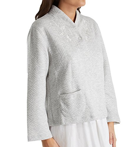 Knit Bed Jacket (Miss Elaine Quilt-In-Knit Bed Jacket (806907) M/Grey Heather)