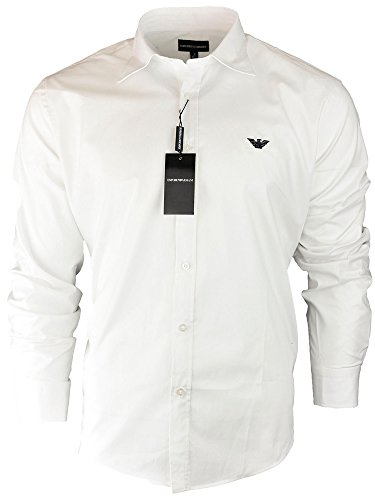 Emporio Armani Men's Long Sleeve Casual Shirt (White, Medium)
