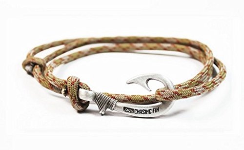 Chasing Fin Adjustable Bracelet 550 Military Paracord with Fish Hook Pendant, Copperhead