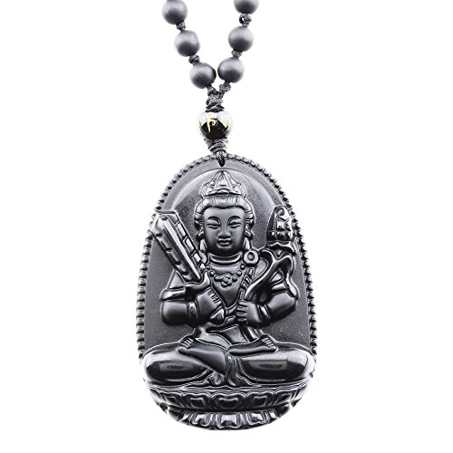 - FOY-MALL Natural Obsidian Guardians of Chinese Zodiac Pendant Necklace Akasagarbha XL1270g
